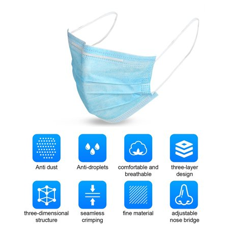 50pcs Disposable 3-Layer Protective Face Mask Anti Dust Breathable Earloop Mouth Face Mask Comfortable Sanitary Mask 50pcs/Pack Blue - image 1 of 6