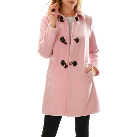 Women's Turn Down Collar A-line Toggle Worsted Duffle Coat Pink (Size M / 10) Pink XL (US -