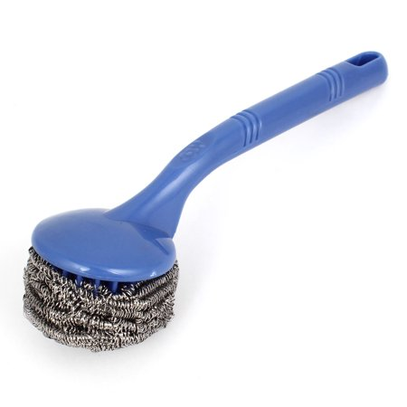 Unique Bargains Kitchen Blue Plastic Handle Steel Coil Wire Ball Cleaning Brush Clean Tool for Home Essential
