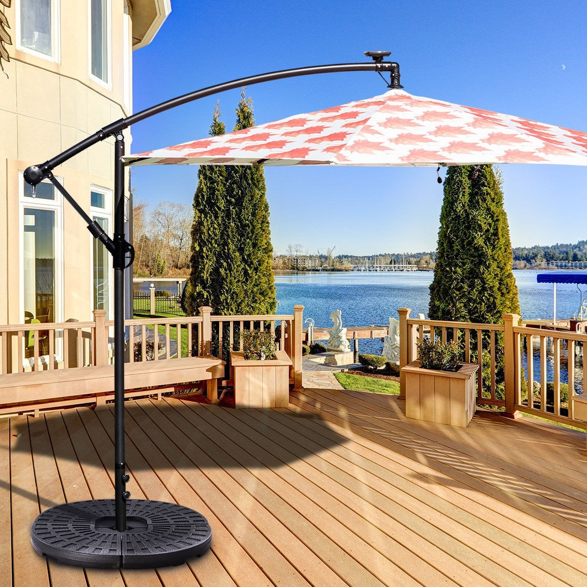Patio Offset Water Filled 4 Plate Umbrella Base Stand
