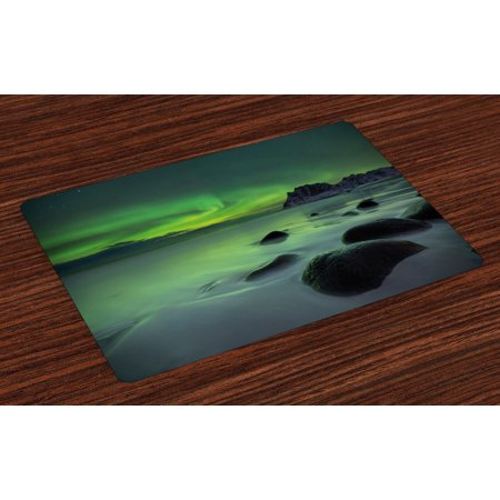 Aurora Borealis Placemats Set of 4 Magic Nature Panorama Coastline Oval Energy Sky Mist Picture, Washable Fabric Place Mats for Dining Room Kitchen Table Decor,Almond and Lime Green, by Ambesonne