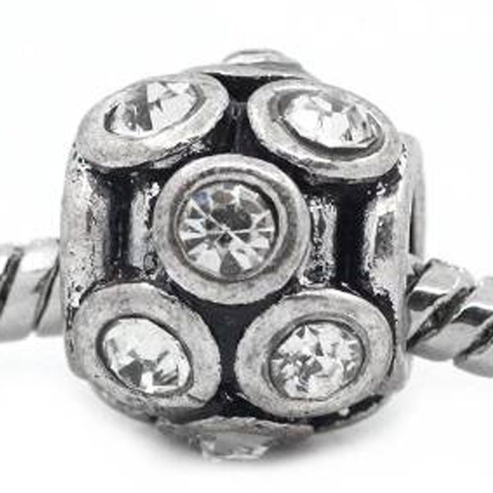 Lantern Shape Charm w/ Rhinestones Spacer Beads for Snake Chain Bracelets (Clear)