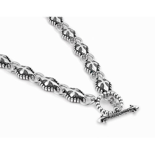 Plutus Partners Twisted Blade Silver Diamond Link Necklace