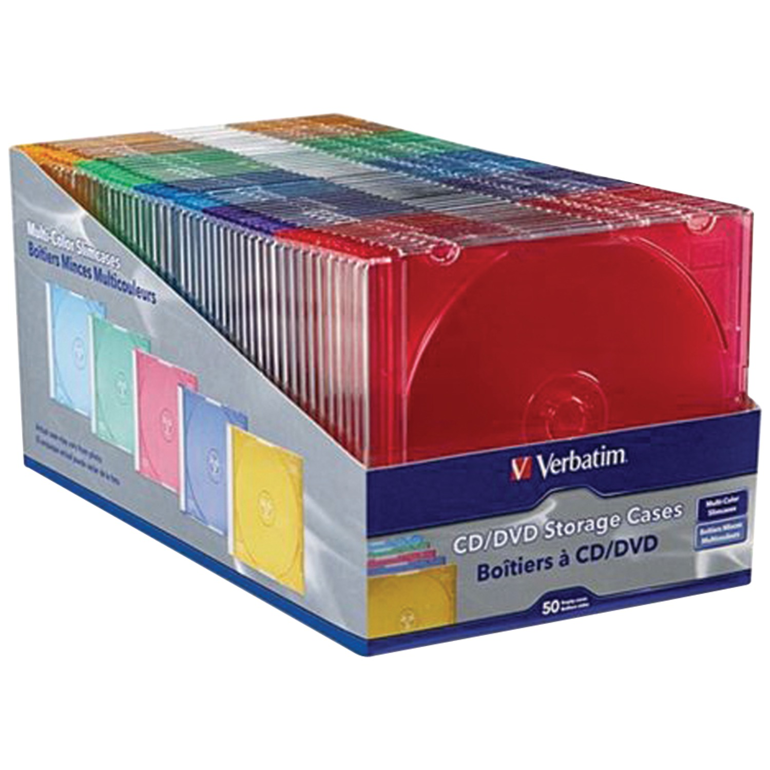 Verbatim 94178 Color Cd/dvd Slim Cases, 50 Pk