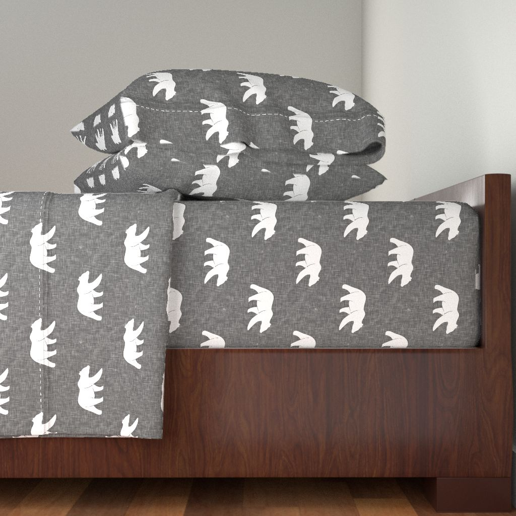 Bear Woodland Texture Gray Lumberjack 100% Cotton Sateen Sheet Set by Roostery