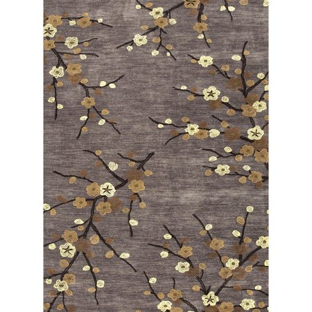 - 3.5' x 5.5' Pale Yellow, Dark Gold and Gray Modern Cherry Blossom Hand Tufted Polyester Area Throw Rug