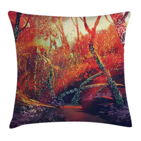 Woodland Faries (Fantasy Art House Decor Throw Pillow Cushion Cover, Fall Autumn Scenery in Habitat Fairy Tale Woodland Fiction View, Decorative Square Accent Pillow Case, 16 X 16 Inches, Orange Purple, by)