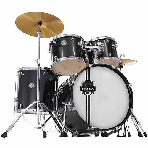 Mapex Voyager Standard 5-Piece Drum Set with Cymbals, Black