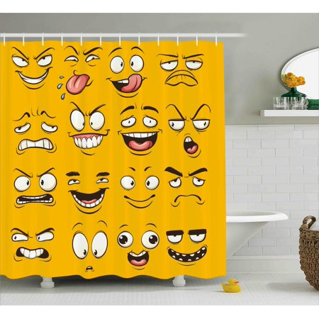 Emoji Shower Curtain Smiley Surprised Sad Hot Happy Sarcastic Angry Mood Faces Expression Plain Backdrop