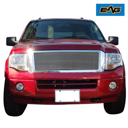 EAG 07-14 Ford Expendition Chrome Upper Hood Billet Packaged Grille with ABS Shell Billet Grille Shell Package
