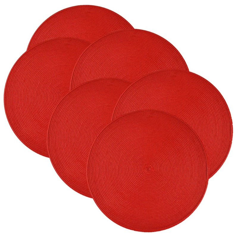 "Design Imports 14"" Round Placemat in Red (Set of 6)"