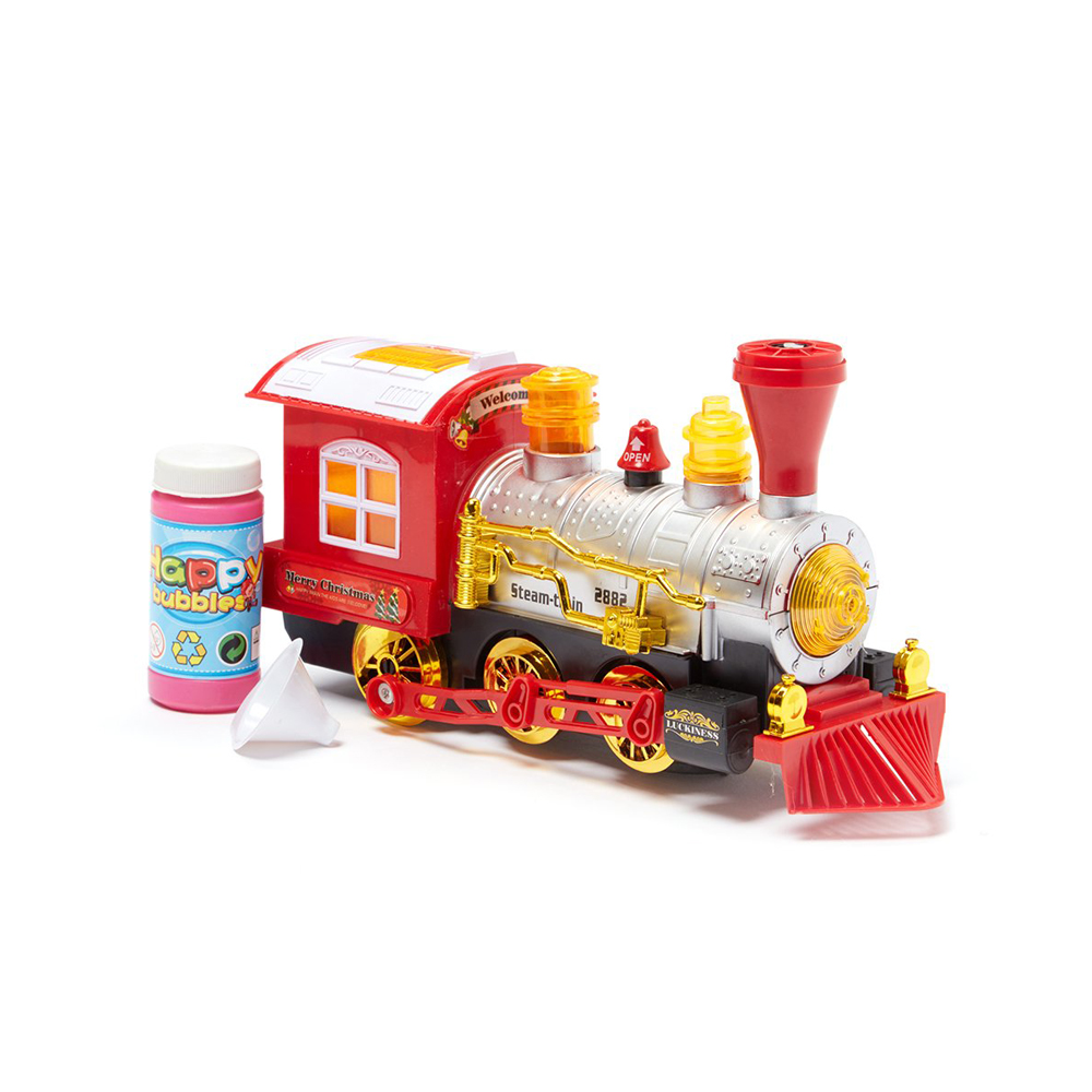 Dash Toyz Luckiness Train Locomotive Engine Car Bubble Blowing Bump & Go Battery Operated Toy Train w/ Sounds& Lights