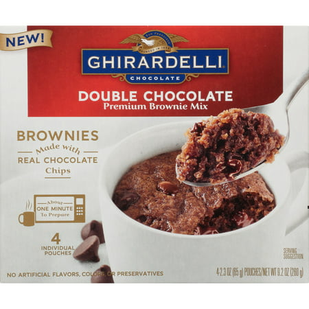 (4 Pack) Ghirardelli Double Chocolate Mug Brownie Mix, 9.2oz