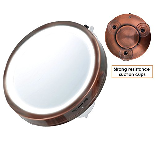 "Ovente Lighted Travel Makeup Mirror, 6"" Diameter, Compact and Portable, Battery Operated, 8x Magnification, Antique Copper (MLI25CO)"