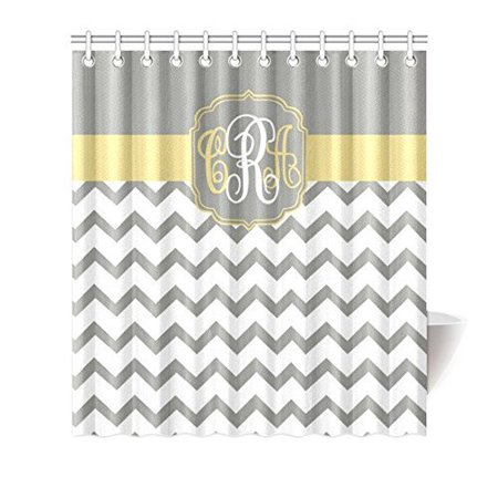 Monogram Shower Curtain (HelloDecor Chevron Monogrammed Shower Curtain Polyester Fabric Bathroom Decorative Curtain Size 66x72 Inches)
