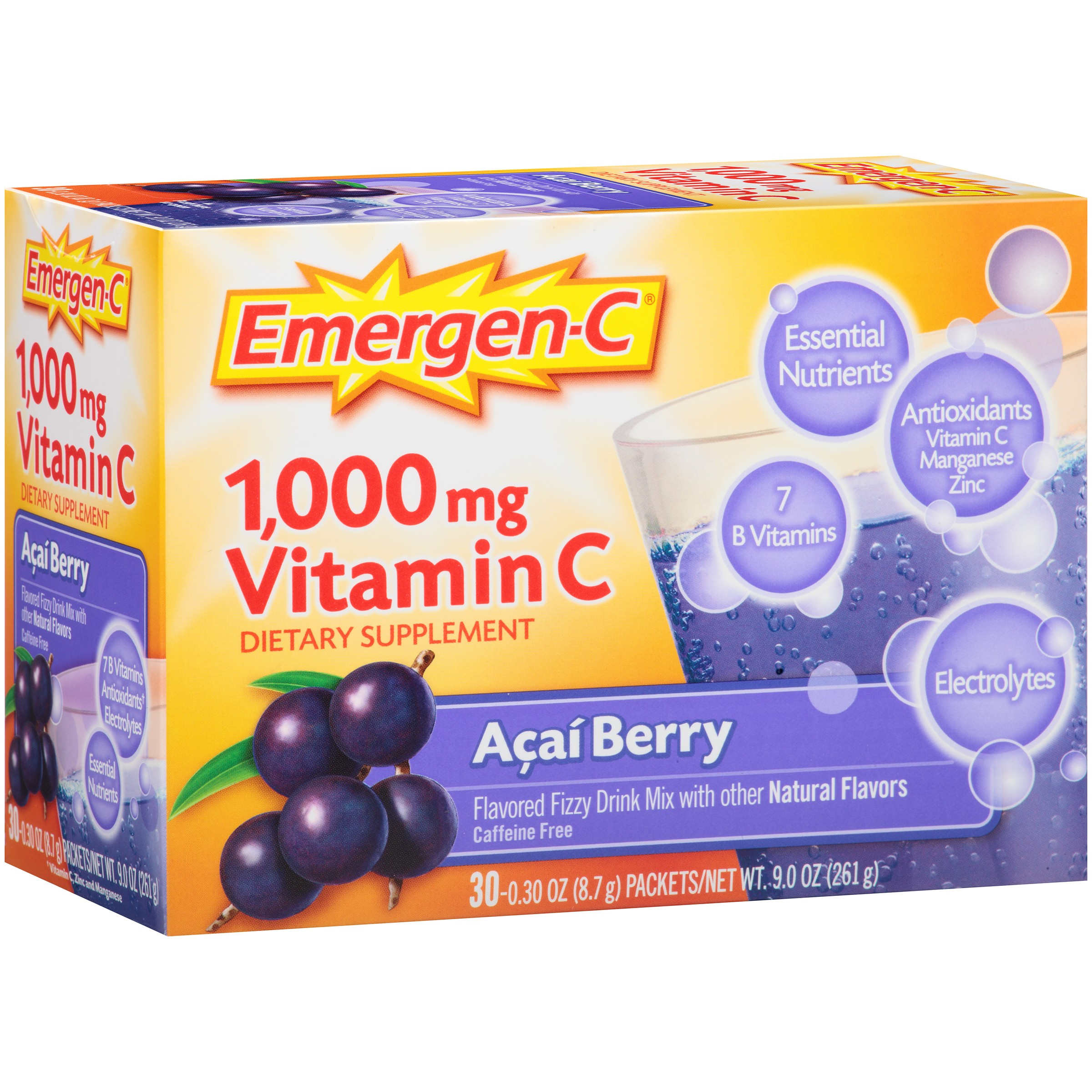 Emergen-C Acai Berry Packets Dietary Supplement, .3 oz