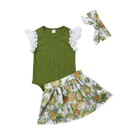 e5415af3dd Newborn Baby Girls Clothes Floral Tops Romper Tutu Skirts Outfits Set 0-24M