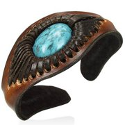 Brown Leather Simulated Turquoise-Tone Engraved Cuff Bangle Womens Adjustable Bracelet