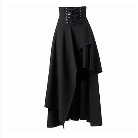 Women's Pure Black Gothic Lolita Band Waist Skirt Gothic Lolita Bandage Dress Black M Banded Waist V-neck Dress