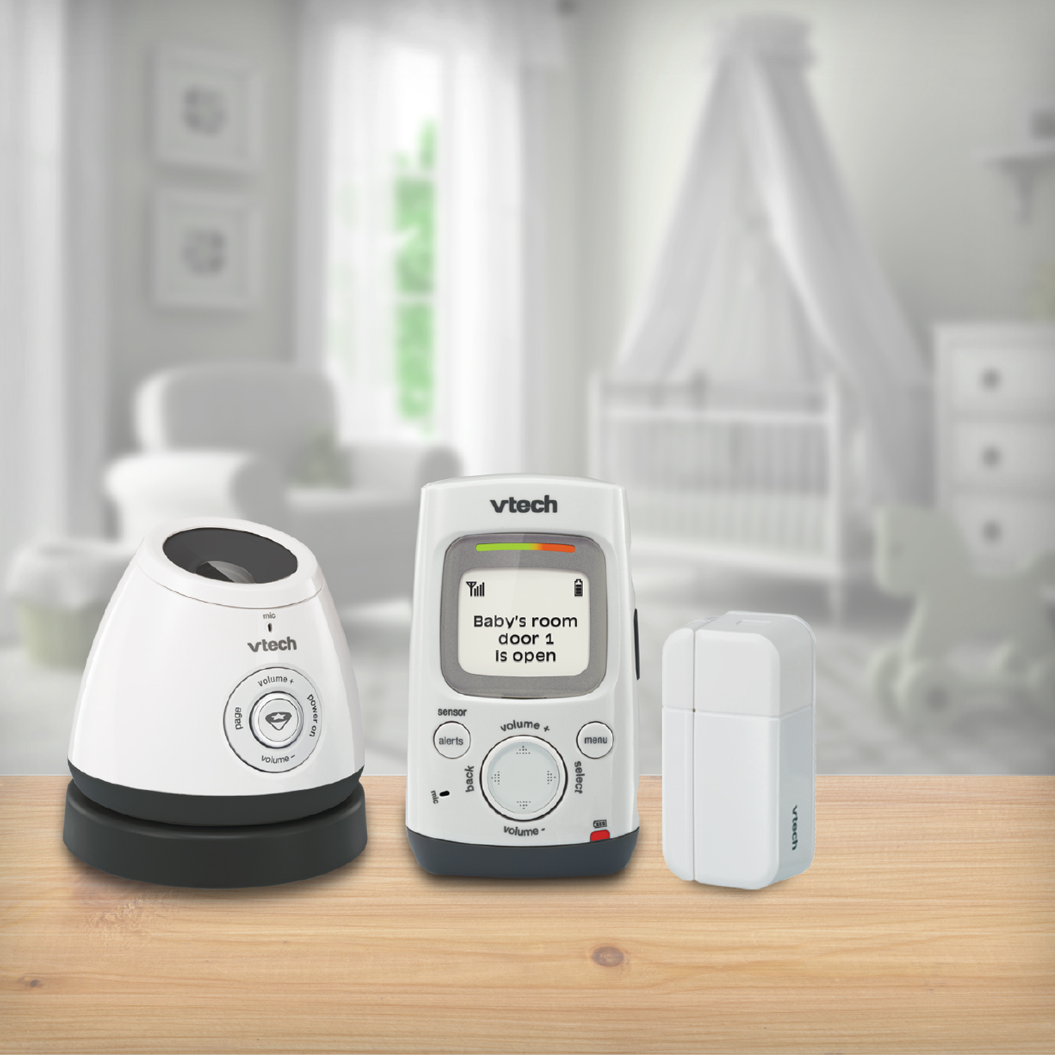 VTech Safe & Sound® DM271-102 DECT 6.0 Digital Audio Baby Monitor with Open/Closed Sensor, 1 Parent Unit, White