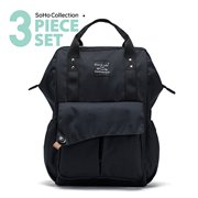 SoHo Backpack Diaper Bag, Nolita, Black, 3 Piece Set