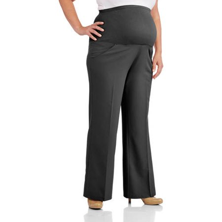 2d449e5fc35 Oh! Mamma - Maternity Plus-Size Full-Panel Wide Leg Career Pants - Walmart .com