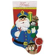 "Policeman Santa Stocking Felt Applique Kit, 18"" Long"