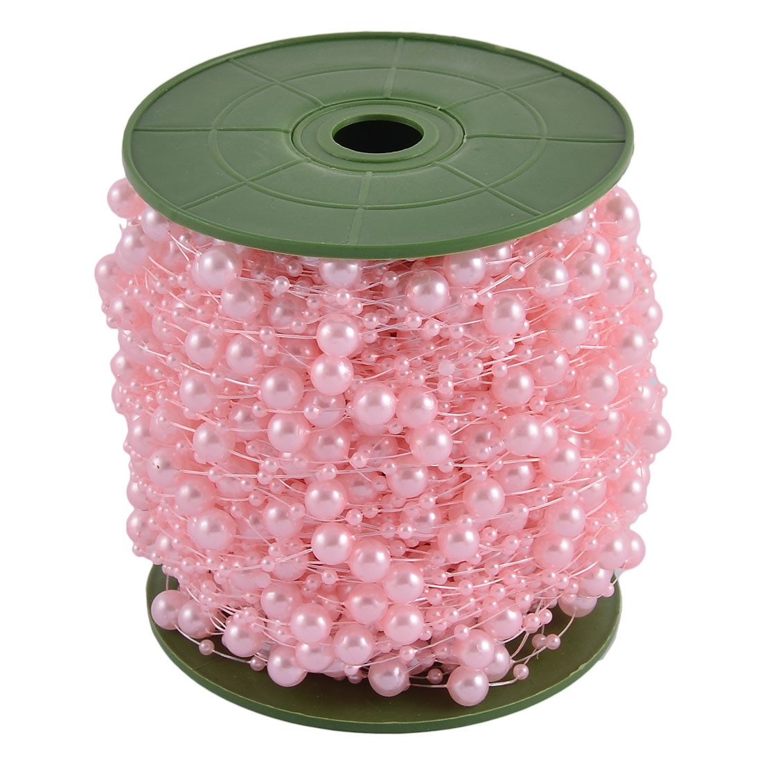 Unique Bargains Wedding Party DIY Garland Flower Table Decoration Pearl Beads String Roll Pink