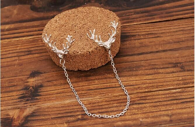 Women's Brooch Creative Diamond Moose Shaped Cloth Accessories Christmas Brooch by Coxeer