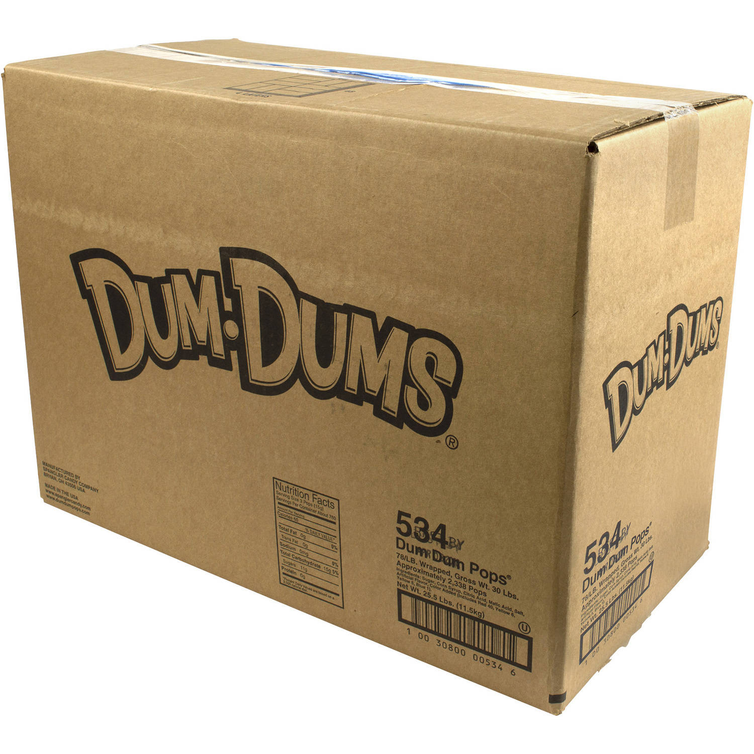 Dum Dum Lollipops Candy, 534 count, 30 lbs by
