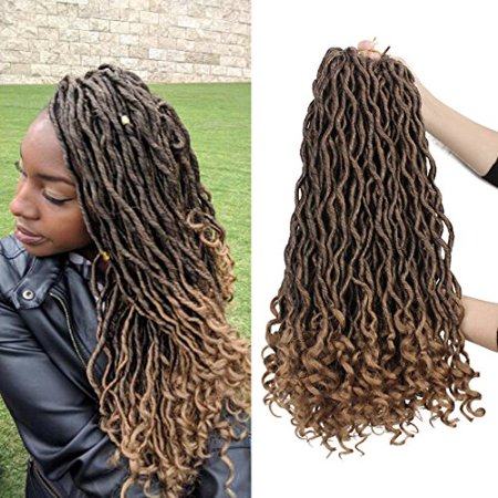 6 Packs/lot Goddess Faux Locs Crochet Hair Braiding Prelooped Faux Locs Twist Crochet Hair Braids with Curly Ends 24 roots/pack Ombre Blonde Dreadlocks Synthetic Hair Extensions (1b/27) - image 4 of 4