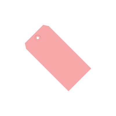 Pink 13 Pt. Shipping Tags SHPG11041J 4 1/4  x 2 1/8  Pink 13 Pt. Shipping Tags. Colored tags aide in coding shipments and inventory. Tags feature a 3/16 , reinforced, tear resistant eyelet.  Tags may be attached with string or wire.  Pre-cut, 12 , unpolished cotton tag string available stock number G2501.  Pre-cut, 12 , 26 gauge tag wire available stock number G2500.  Available in case quantities. 1000/Case.