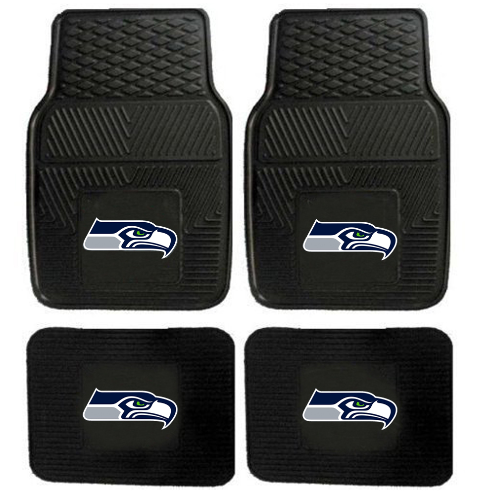 Front and Rear Floor Mats - Vinyl - Car Truck SUV - NFL - Seattle Seahawks