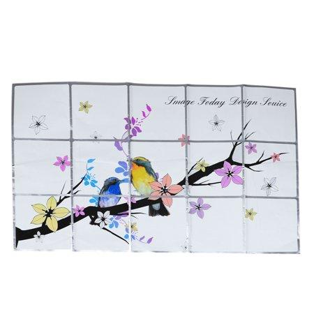 Unique bargains magpie floral print colorful kitchen sheet for Colorful kitchen wall art