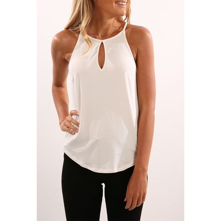 Women Summer Fashion Solid Color Round Neck Cutout Halter Top