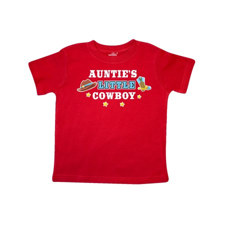 Aunties Little Cowboy with Cowboy Hat and Boots Toddler T-Shirt - Cowboy Hats And Boots