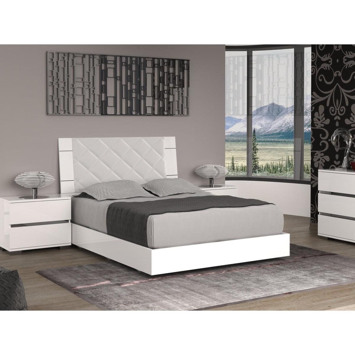 Casabianca Furniture Tc 9001 Kw Diamanti Eco Leather Headboard King Bed 44 Light Gray White Lacquer 49 5 X 80 X 85 In Walmart Com Walmart Com
