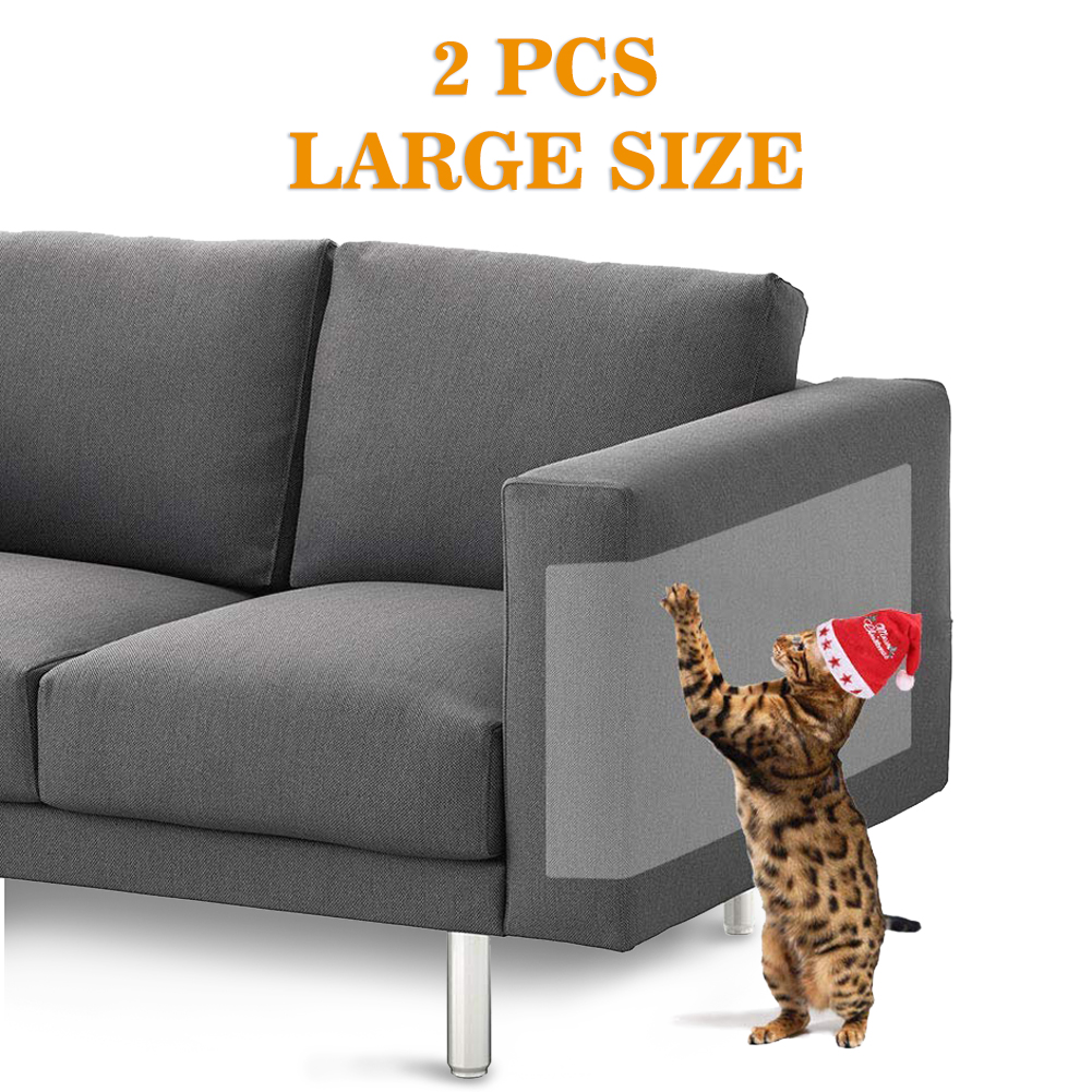 LNKOO Large (18.5 x9.05Inch) Pet Couch Protector Clear Self-Adhesive Couch Guard & Cat Scratching Furniture Protector Dog Cat Scratch Furniture Shield for Sofa Walls Doors(2PCS/Set)
