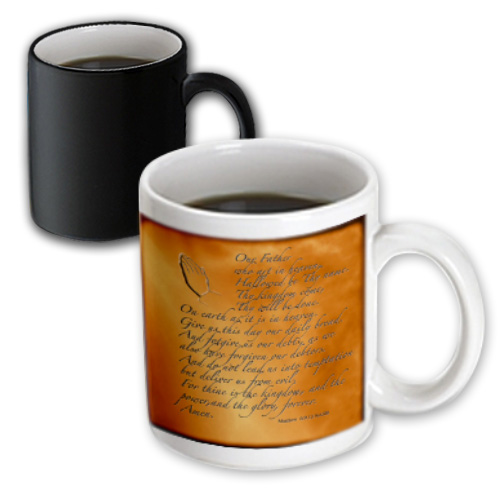 3dRose The Lords Prayer Matthew 6 9 13 Prayer Hands and verse embossed on copper, Magic Transforming Mug, 11oz