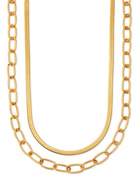 """Scoop Brass Yellow Gold-Plated Layered Herringbone and Link Chain Necklace, 15"""" + 3"""" Extender"""