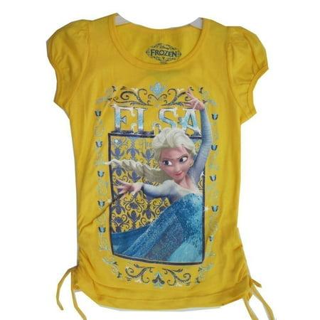 Disney Little Girls Yellow Elsa Portrait Frame Graphi Print T-Shirt 6X
