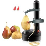 Multifunctional Automatic Electric Potato Peeler Automatic Rotating Fruits Vegetables Cutter Kitchen Peeling Tool for Fruit Vegetables Battery Powered (Black)