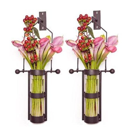 Wall Mount Hanging Glass Cylinder Vase Set with Metal Cradle and (Glass Wall Vase)