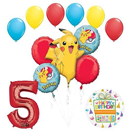 Pokemon 5th Birthday Party Supplies and Balloon Bouquet Decorations - Balloon Pokemon
