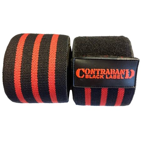 Bodybuilding Knee Wraps (Contraband Black Label 1050 Knee Wraps With 3in Velcro EZ-Wrap for Bodybuilding, Powerlifting, and Strongman)