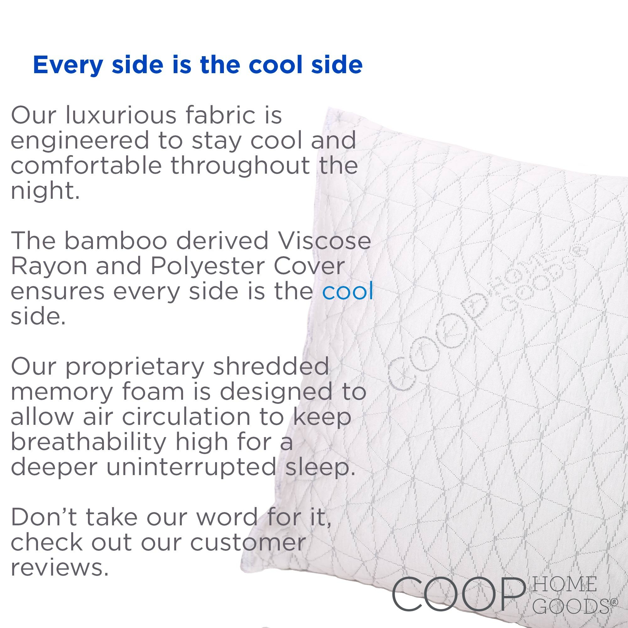 shredded memory foam pillow with viscose rayon cover derived from bamboo walmartcom