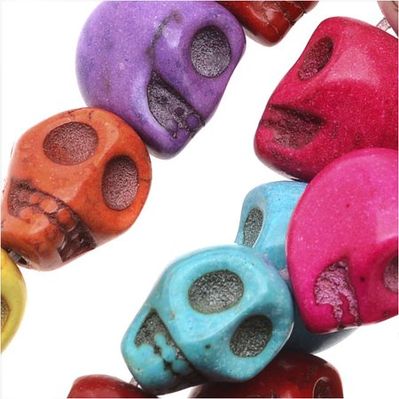 Dyed Magnesite Gemstone Beads, 10mm Mini Skulls 15.5 Inch Strand, 1 Strand, Multi - Hand Dyed Stranded Cotton