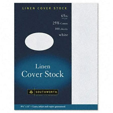 Southworth Z550CK 25 Percent Cotton Linen Copy/Inkjet/Laser Coverstock  White  65lb  Letter  100