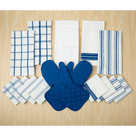 Mainstays Terry Stripe Kitchen Towel, Dish Cloth, Flour Sack, Oven Mitt and Pot Holder Set, 20 Piece, Multiple Colors