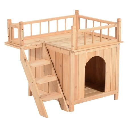 Pawhut 2-Story Indoor/Outdoor Wooden Cat House - Walmart.com